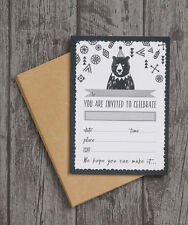 Pack of 10 Grizzly Bear Party Birthday Party Christening Baby Shower Invitations