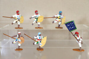 TROPHY MINIATURES EGYPT & SUDAN WAR DERVISH with SPEARS ATTACKING with FLAG 3pjm