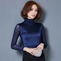 Women Black Mesh T-shirt Slim Top Splice Turtle Neck Long Sleeve Pullover Blouse