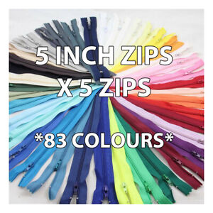 5 INCH CLOSED END ZIP No.3 NYLON  *83* COLOURS ZIPPER SEWING  CUSHIONS