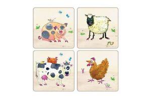 I Style Farmyard Coasters Drink Bar Mats Set of 4 Sheep Cow Pig Chicken Gift New