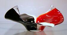 "New 13"" Hand Blown Glass Art Vase Bowl Sculpture Red White Black Decorative"