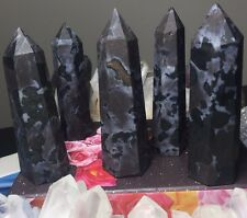 MYSTIC MERLINITE INDIGO GABBRO Crystal Point! Generator Faceted Healing Wand YES