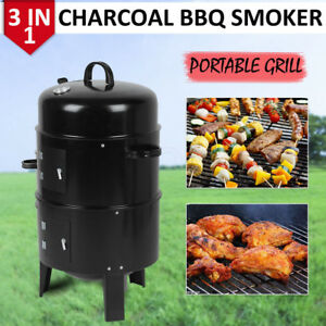 BBQ Smoker 3 en 1 Grill Barbecue et Fumoir avec 2 grills et thermomètre 84x40 cm