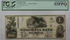 1852 Columbia Bank $1 Obsolete Currency Haxby 195-G2 Washington DC PCGS 55PPQ