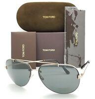 New Tom Ford Brad-02 sunglasses TF0584 28A 63mm Shiny Rose Gold Grey Aviator