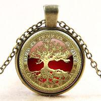 Gold Baum von die Lebens Cabochon Glas Silber Halskette Bronze für Herren flYfE
