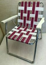Vintage Folding Aluminum Chair Webbed Patio Lawn Chair Pink & White