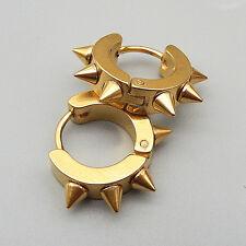 Gold/Silver/Black Stainless Steel Punk Spike Rivet Hoop Huggie Hinged Earrings