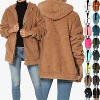 TheMogan S~3X Oversized Soft Teddy Sherpa Fleece Hooded Zip Front Jacket Winter
