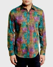 $199 Bugatchi Uomo Classic Fit Casual Shirt Mens S Cypress Liberty Art Print NWT