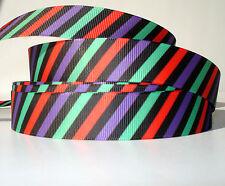 "Halloween Diagonal Stripe 7/8"" grosgrain ribbon 4 yds. home decor crafts"