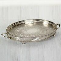 Vassoio in argento sheffield antico silver plated ovale con manici da tavola