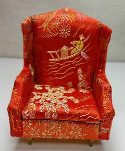 VTG Petite Princess Fantasy Furniture Japanese Style Salon Wing Chair Red w/Feet