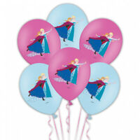 6 Disney Frozen Pink & Blue Printed Latex Balloons - Party Banner Decoration New