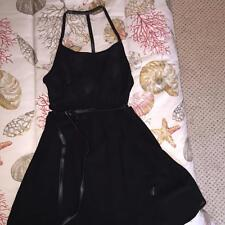 ReHab Black Crepe Strappy Cocktail Dress w/Faux Leather trim small