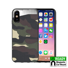For iPhone X - Green Camouflage Hybrid Magnetic Hard Back Plate Skin Case Cover