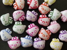 50 Hello Kitty Multicolor bead acrylic plastic loose beads