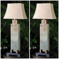 """TWO 37"""" HAND CARVED SLATE TABLE LAMP HAMMERED COPPER ACCENTS INDOOR OUT LIGHT"""
