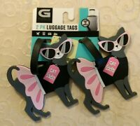 NWT G Force 2-pk PVC Cats Luggage Tags Travel Bag Tote Accessories #190719-197