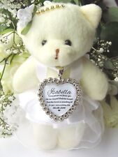 Flower Girl Teddy Bear 12cm With Bouquet Charm Heart Diamante Something Old Gift