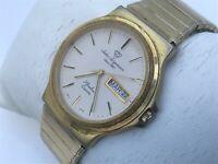 Jules Jurgensen Watch Slimline Quartz Gold Tone Vintage Wrist Watch Day Date