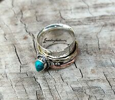 Turquoise Ring 925 Sterling Silver Ring Spinner Ring All Size Love****15