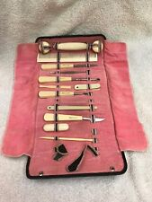 French Ivory Celluloid Manicure Set of 14 Tooled Leather Case from my collection
