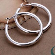 "925 Sterling Silver Hoop Pierced Earrings 1.8"" Inches L100"