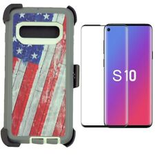 For Samsung Galaxy S10 Defender Case W/Screen & Clip Fits OtterBox USA Flag
