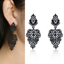 Pair Vintage Black Retro Hollow Flower Hoop Earrings Bohemian Ear Cuff