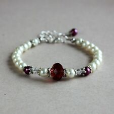 Burgundy ivory cream pearls silver beaded wedding bridesmaid bridal bracelet