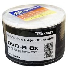 50 x Ritek (Traxdata) Blank DVD-R White Full Inkjet Printable Disc 8x 4.7GB New