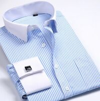 Men's Dress Shirts Business White Collar French Cuff Casual Striped Luxury CS340