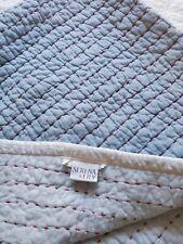 "Serena Lily Mini Cabin Pick Stitch Quilt Voile Blue Red 38""x48"" Blanket Nursery"