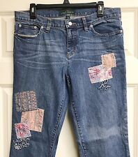 Ralph Lauren Patchwork Bootcut Jeans Size 10 Boho Chic 1967 Embroidered EUC