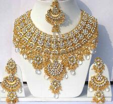 Indian Jodha Akbar Joyas Conjunto Claro Piedras Oro Plateado Nuevo-AQ -