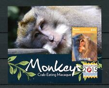 Bequia Grenadines St Vincent 2015 MNH Monkeys Macaque Singapore 2015 1v S/S