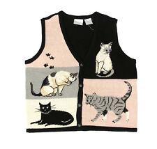 Blair Boutique Womens Cat Print Sweater Vest Cotton Blend Black Gray Beige XL/ M