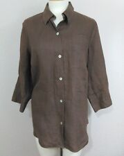 Autograph Woman SzXL Chocolate Brown Linen Blouse/ Jacket-Abalone Shell Buttons
