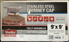 "SCSS99L HY-C Shelter 9"" x 9"" 304 Stainless Steel Square Chimney Stove Cap"