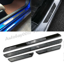 4x Carbon Fiber Car Scuff Plate Door Sill Guard Trim Cover Step Protector Black