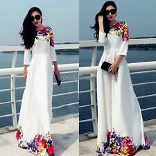 Womens Maxi Boho Floral Summer Beach Long Skirt Evening Cocktail Party Dress XXL