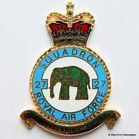 RAF 27 Squadron DANBURY MINT Blank Badge -24ct Gold Detail 1970s Royal Air Force