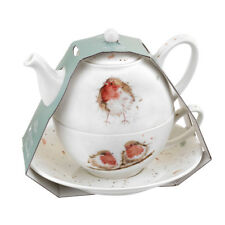 Boxed Tea for One Cup Teapot Saucer Official Licensed Wrendale Christmas Robin