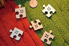 Hübsche Puzzle Lagenlook Holz Knopf Knöpfe 2,6cm x 2,1cm 26x21mm 2 Stück NEU 2