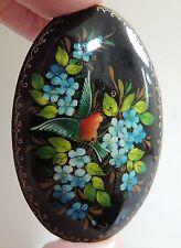 Signed Palekh Pin Russian handpainted brooch Bird & Flowers