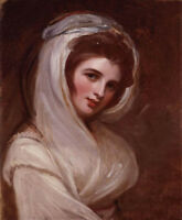 Nice Oil painting George Romney Noblewoman Emma, Lady Hamilton with white scarf