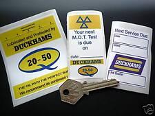 DUCKHAMS OIL Set of 3 Classic Car Service & MOT STICKERS Restoration Garage