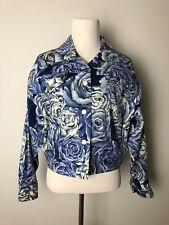 Emanuel Ungaro Blue and White Floral Jacket Women's Size 6 Made in Korea